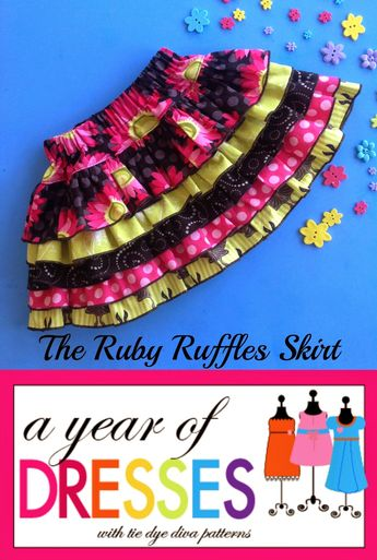 Tie Dye Diva Patterns: A Year of Dresses: Diva Collection #3, The Ruby Ruffles Skirt