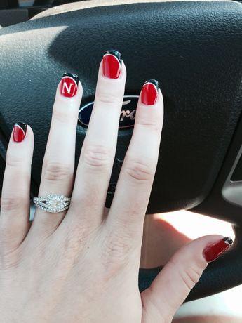 Nebraska Husker Nails Go Red