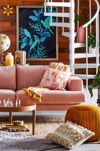Room crush: pastel velvet furniture & bold boho prints & patterns make this room a maximalist sanctuary. Find it all in Drew's new home collection.