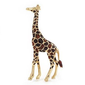 Brown Enamel 'Giraffe' Brooch In Gold Plated Metal $19.78