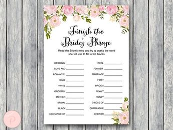 pink finish the brides phrase game complete the phrase bridal shower game bridal