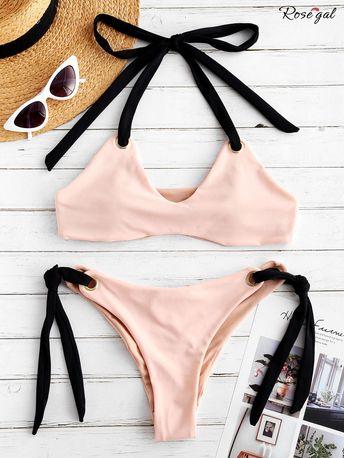 Pink Bikini Set with Self Tie #Rosegal #bikini #womenfashion #cute #pink