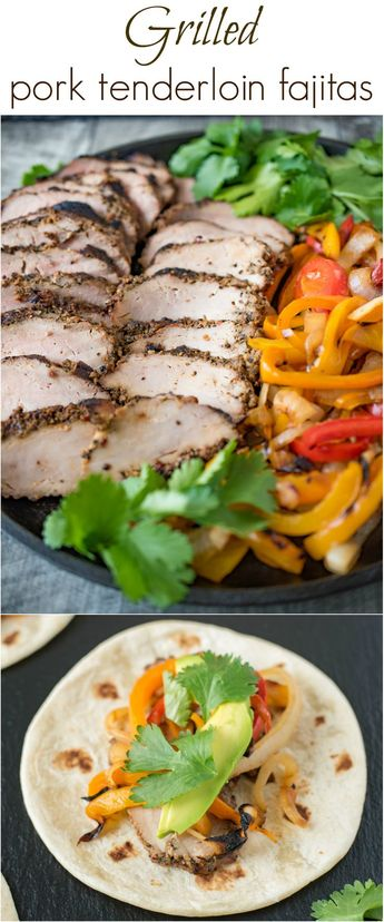 Grilled pork tenderloin fajitas are a quick and easy way to get a summer meal served in under 30 minutes. Marinated pork tenderloin is grilled along with onions and peppers. The pork is sliced then all are served on warm tortillas garnished with fresh avocado and cilantro. #ad #RealFlavor#RealFast
