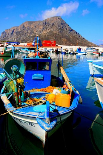 Fishing boat and Telendos island