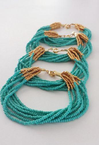 Bracelet bracelet en turquoise, bracelet turquoise de demoiselle d'honneur, bracelet, bracelet en perle de rocaille, cadeaux de demoiselles d'honneur, cadeaux de fête de mariage, multirang de perles