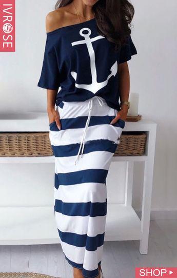 Boat Anchor Print T-Shirt & Striped Skirt Sets