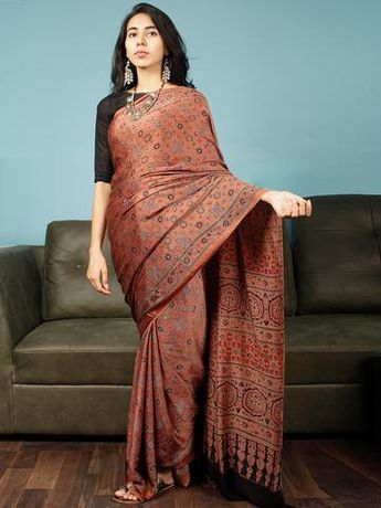 05644992db94d Rust Indigo Black Ajrakh Hand Block Printed Modal Silk Saree in Natural  Colors - S031703360