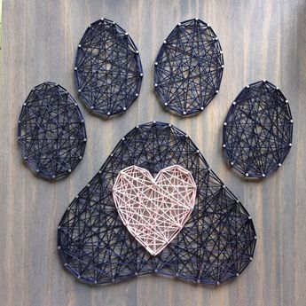 """MADE TO ORDER String Art Paw Print and Heart Sign 
