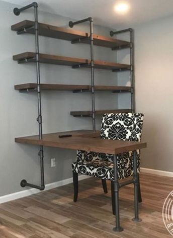 5 Tiers L-Shape Desk and Shelve 60'' x 96'' Laptop Desk,Solid Wood & Iron Pipe Computer Desk,Wall Pipe Desk ,Computer Table