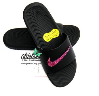 b8f3221d97d4 Swarovski Women Nike Kawa Slides Flip Flops Customized with Fuschia  SWAROVSKI® Crystals