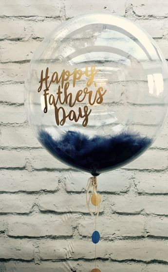 Navy blue feather balloon personalised with gold message for Father's Day