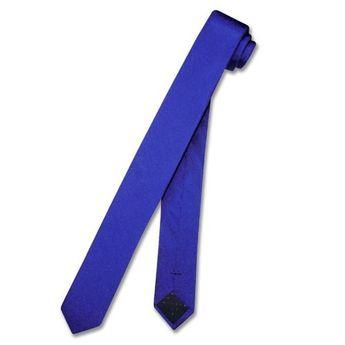 cfe9b3666eb3 100% SILK Narrow NeckTie EXTRA Skinny ROYAL BLUE Color Men's Thin 1.5