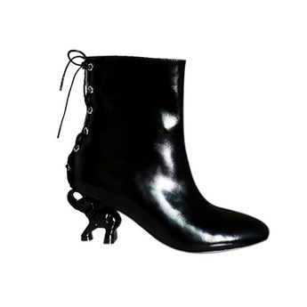 469c8f4802e ANFOR Bi-Color Metal Heel Patent Leather Ankle Boots