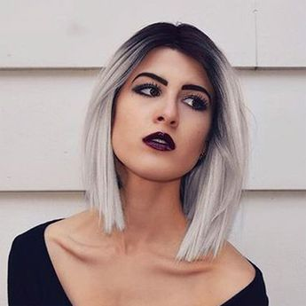 Synthetic Wig Straight Bob Haircut Synthetic Hair Ombre Hair / Dark Roots / Side Part Black Wig Women's Short Capless