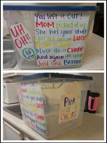 """Children Discipline """"Uh oh. You left it out. Mom picked it up. She has your stuff. Your out of luck. To get it back, you must do a chore. And again its yours just like before. Pick a chore""""  Love this idea!"""