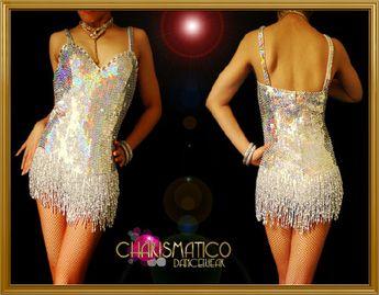 CHARISMATICO Dark iridescent silver sequin Latin dance dress with beaded fringe