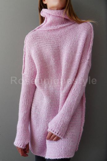 Pink Oversized Slouchy sweater. Alpaca chunky knit sweater | Roseuniquestyle