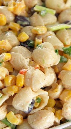 Spicy Southwest Pasta & Corn Salad with Chili Lime Dressing Recipe...use cilantro instead of parsley duhhh.