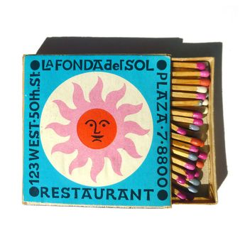 hunterrible Vibrant matchbox designs for La Fonda del Sol restaurant in New York, by Alexander Girard circa 1960.