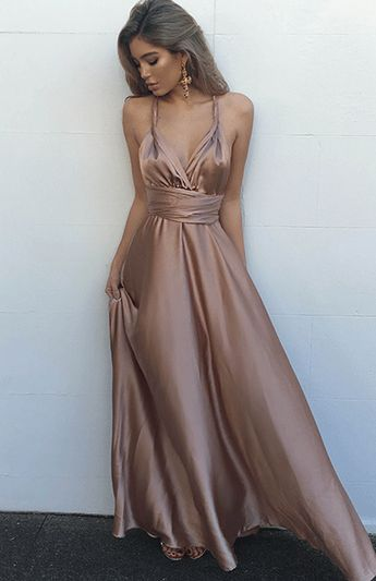 Fancy A-Line V Neck Criss-Cross Back Long Champagne Prom Dress with Pleats