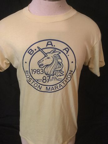 e97f9230201 Vintage 1980 s Boston Marithon 1983 T-Shirt Nature Unicorn 50 50 Boston  Strong Made