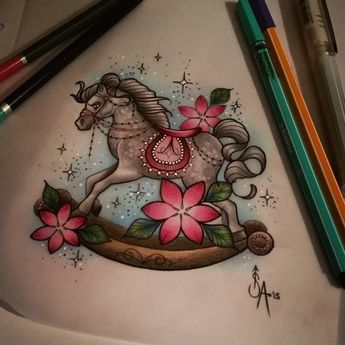 Rocking horse design id like to tattoo! See me at The Projects Tattoo or email me for info  sophie.adamson@hotmail.co.uk #tattoo #design #rockinghorse #art #drawing #uktattooartist #plymouth #cute #tatshare #tattooworkers #neotraditional #igdaily