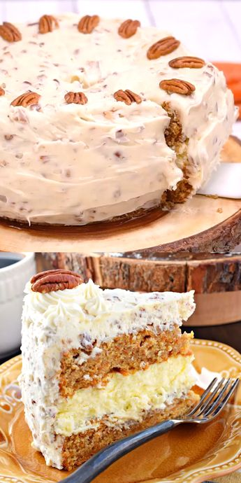 This Carrot Cake Cheesecake Cake is a showstopper! Layers of homemade carrot cake, a cheesecake center and it's all topped with a delicious cream cheese frosting! #carrotcake #video #cheesecake #easter #dessert #spring