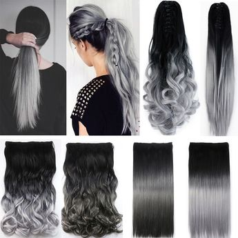 Neverland Women's Fashion Silver Gray Ombre Color Curly Straight Clip on Hair Extensions Ponytail Hairpieces Hair Tail | Wish
