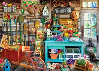 "EuroGraphics The Potting Shed 1000-Piece Puzzle Box size: 10"" x 14"" x 2.37"". Finished Puzzle Size: 19.25"" x 26.5"". A beautiful arrangement showing the love and care to tend to a fresh Spring day!"