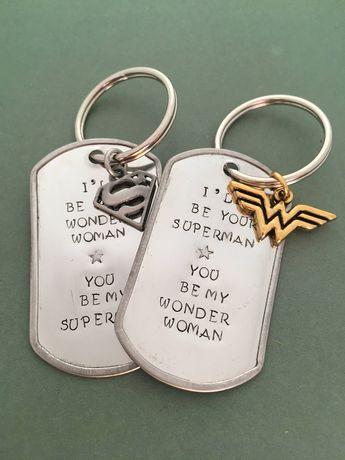 Superhero Love: Wonder Woman and Superman Love Keychains