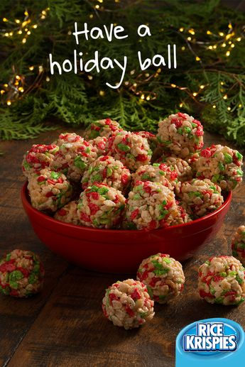 Making holiday treats with Rice Krispies® cereal is a ball! These treats are perfect for family gatherings this holiday season.  #RiceKrispies #HolidayBaking #EasyHolidayTreats #EdibleGifts #Ornaments