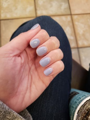 This OPI Tokyo Collection gel polish Kanpai is so pretty. Very soft bluish purple. Plus super short acrylic nails :) #opi #tokyo #tokyocollection #acrylicnails #periwinklenailpolish