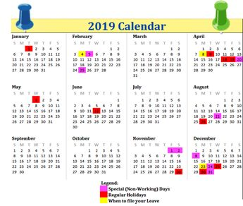 Blank Singapore 2019 Printable Calendar