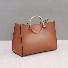 ba2ba456d912 Rosaire « Beaubourg » Genuine Cowhide Full Grain Leather Top Handle Bag  Padlock in Black   Gold 15881