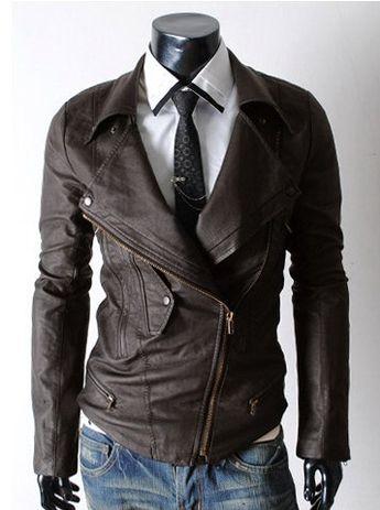 handmade Men brown Leather Jacket, Men stylish slim browm leather jacket double napeel collar. $169,99, via Etsy.