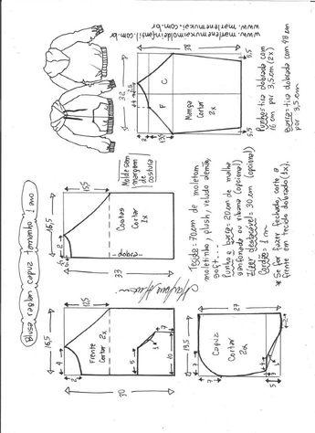 Blusão com capuz e manga raglan - DIY- marlene mukai - molde infantil 26e91a242f43b
