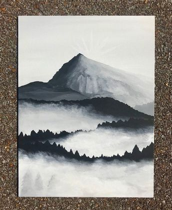 Hand Painted Foggy Black and White Mountain and Forest Scene - Canvas Panel