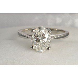 A Perfect 4CT Oval Cut Solitaire Russian Lab Diamond Engagement Ring