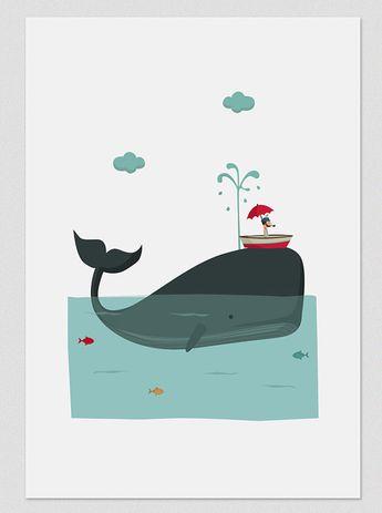 Illustration, Print, Big Blue Whale, Tutticonfetti, Wall art, Art decor, Hanging wall, Printed art, Decor home, Gift idea, Sweet home