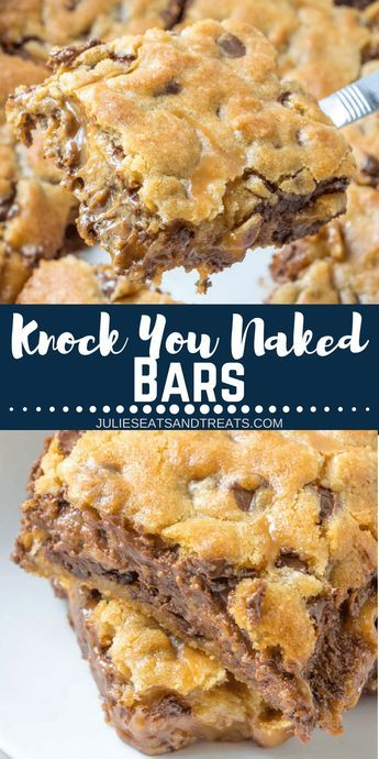 Delicious Caramel Cookie Bars with an amazing layer of gooey caramel stuffed in better the layers with a hint of peanut butter. These cookie bars are EPIC and you'll never make them anyway again! There's a reason they are called Knock You Naked Bars! #cookiebars #dessert #dessertbars #bars #caramel #peanutbutter #chocolatechips #chocolate #recipe #recipes #easyrecipe #julieseatsandtreats