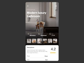 Home Inspiration App gallery interaction motion principle photos home bathroom ux inspiration ideas animation details product slider cards swipe app mobile ui 7ninjas