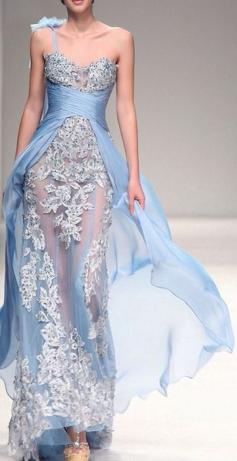 2013 S/S Fashion Show Handmade Flowers Blue Evening Dress Prom Gown (F00132532)