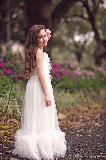 fc3e15fec First Communion Dress, Boho Flower Girl Dress Pleats Tulle Halter Flower  Girls Dresses 2018 New