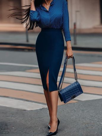 Dot Long Sleeve Shirt & Slinky Slit Skirt Sets
