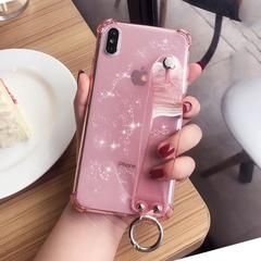 Glitter Powder Holder Phone Case For iPhone X XR XS Max 6 6S 7 8 Plus Transparent Soft TPU Wrist Strap Shockproof Back Cover