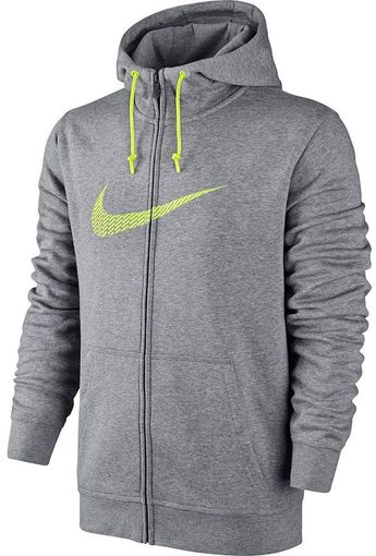You'll be competition-ready in this men's full-zip hoodie from Nike, complete with the classic swoosh. PRODUCT FEATURES Nike swoosh graphic Brushed back fleece Drawstring hood 2 pockets Long sleeves Cotton, polyester Machine wash Imported