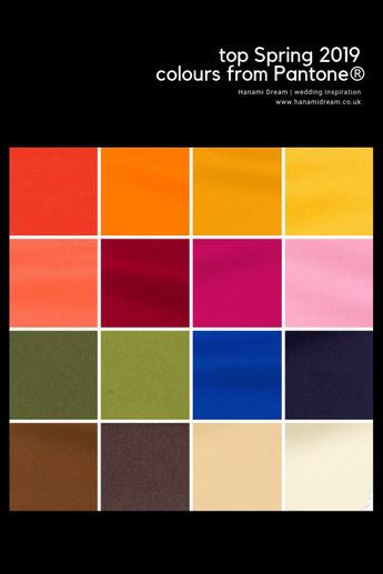 Top Spring 2019 colours from Pantone