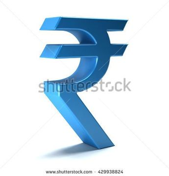 Rupee currency icon. 3D rendering illustration