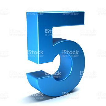 Number Five Color Blue Icon. 3D Render Illustration