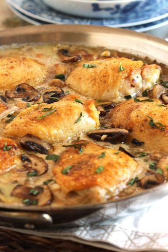 Pan Roasted Chicken Thighs with Creamy Mushroom Tarragon Sauce